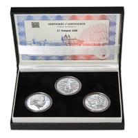 17. LISTOPAD 1989 – návrhy mince 200 Kč - sada tří Ag medailí 34 mm Proof v etui