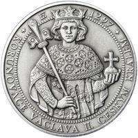 Korunovace Václava II. českým králem  - stříbro patina
