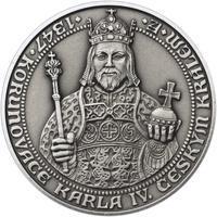 660 let od Korunovace Karla IV. českým králem - stříbro patina