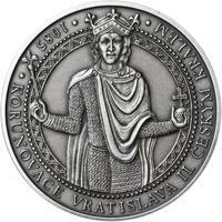 Korunovace Vratislava II. českým králem - stříbro patina