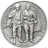 Osvobození Československa 8.5.1945 - 28 mm stříbro patina