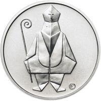 Čert a Mikuláš českého kubisty 25 mm stříbro b.k.