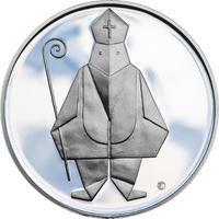 Čert a Mikuláš českého kubisty 25 mm stříbro Proof