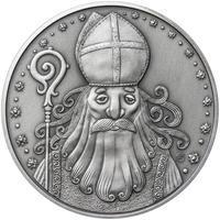 Čert a Mikuláš 25 mm stříbro patina