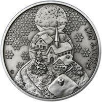 Vánoce 25 mm stříbro patina