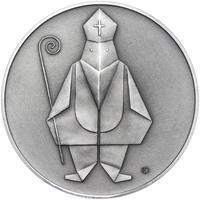 Čert a Mikuláš českého kubisty 50 mm stříbro patina