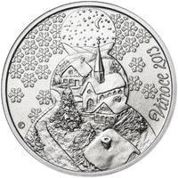 Vánoce 25 mm stříbro b.k.