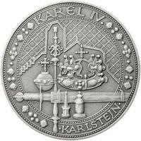 Nejkrásnější medailon IV. - Karlštejn 50 mm Ag patina