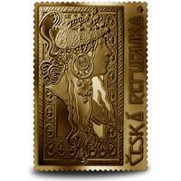 Medaile s motivem známky - Brunetka 1 Oz zlato