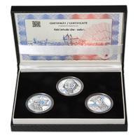 RABÍ JEHUDA LÖW – návrhy mince 200,-Kč - sada I. tří Ag medailí 34mm Proof v etui