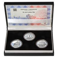 20 LET ČNB A ČESKÉ MĚNY – návrhy mince 200,-Kč - sada tří Ag medailí 34mm Proof v etui