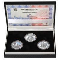 ČESKÉ BUDĚJOVICE – návrhy mince 200 Kč - sada tří Ag medailí 34 mm Proof v etui