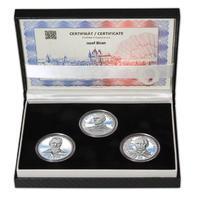 JOSEF BICAN – návrhy mince 200,-Kč - sada tří Ag medailí 34mm Proof v etui