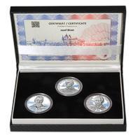 JOSEF BICAN – návrhy mince 200 Kč - sada tří Ag medailí 34 mm Proof v etui