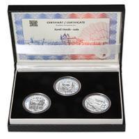 KAMIL LHOTÁK – návrhy mince 200 Kč - sada tří Ag medailí 34 mm Proof v etui