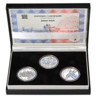ZALOŽENÍ SOKOLA – návrhy mince 200 Kč - sada tří Ag medailí 34 mm Proof v etui