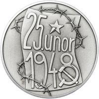 25. únor 1948 - 66. výročí od komunistického puče  - 28 mm stříbro patina