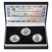 STAROMĚSTSKÝ ORLOJ – návrhy mince 200,-Kč - sada tří Ag medailí 34mm Proof v etui