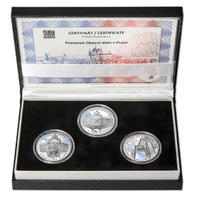 OBECNÍ DŮM V PRAZE – návrhy mince 200 Kč - sada tří Ag medailí 34 mm Proof v etui