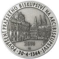 Povýšení pražského biskupství na arcibiskupství - 670 let - 1 Oz stříbro patina