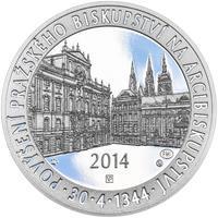 Povýšení pražského biskupství na arcibiskupství - 670 let - 28 mm stříbro Proof
