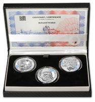BOHUMIL HRABAL – návrhy mince 200 Kč - sada tří stříbrných medailí 34 mm Proof v etui