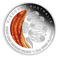 Australia Dreaming - King Brown Snake Pt 1/2 Oz Proof - Platina