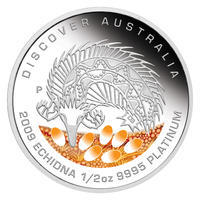Australia Dreaming - Echidna Pt 1/2 Oz Proof - Platina