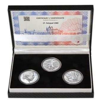 17. LISTOPAD 1989 – návrhy mince 200 Kč - sada tří Ag medailí 34 mm Proof v etui - 1
