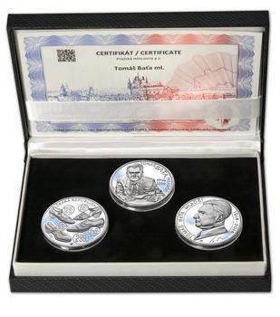 TOMÁŠ BAŤA ml. – návrhy mince 200,-Kč - sada tří Ag medailí 34mm Proof v etui - 1