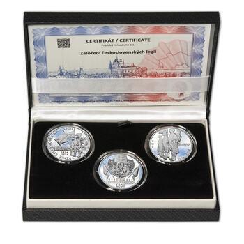 ZAL. ČESKOSLOVENSKÝCH LEGIÍ – návrhy mince 200 Kč - sada tří Ag medailí 34 mm Proof v etui - 1