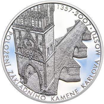 650 let od položení základního kamene Karlova mostu Ag 1 Oz Proof - 1