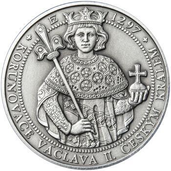 Korunovace Václava II. českým králem  - stříbro patina - 1