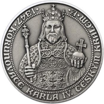 660 let od Korunovace Karla IV. českým králem - stříbro patina - 1