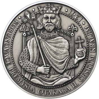Korunovace Přemysla Otakara II. českým králem -  stříbro patina - 1