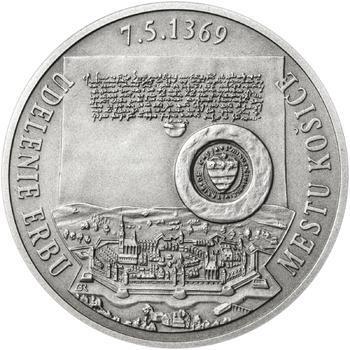 Erb Košice - 28 mm stříbro patina - 1