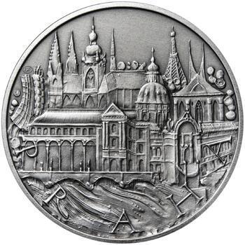 Praha - stříbro 1 Oz patina - 1