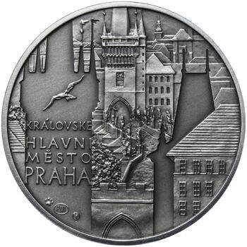Královské hlavní město Praha - stříbro 28 mm patina - 1