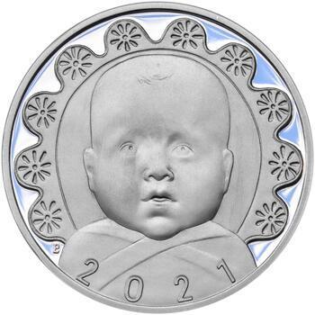 Stříbrný medailon k narození dítěte s peřinkou 2021 - 28 mm, Stříbrný medailon k narození dítěte s peřinkou 2021 - 28 mm - 1