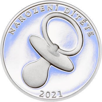 Stříbrný medailon k narození dítěte 2021 - 28 mm, Stříbrný medailon k narození dítěte 2021 - 1