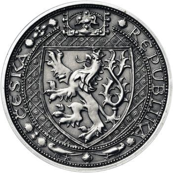 Lev a Orlice - stříbro malá patina - 1