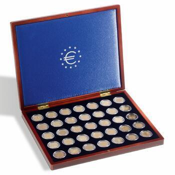 Jednoduchá luxusní dřevěné etue na mince HMK 35 BL
