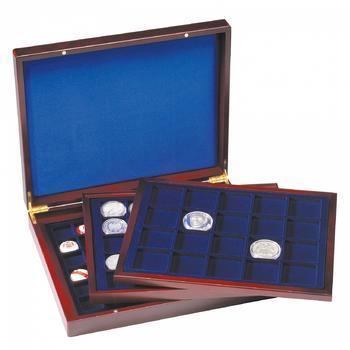 Luxusní velká dřevěná etue na mince 30+30+30