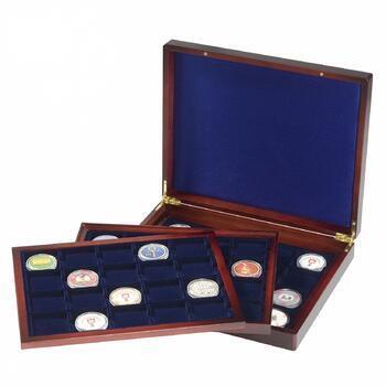 Luxusní velká dřevěná etue na mince 20+20+20