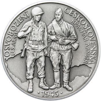 Osvobození Československa 8.5.1945 - 28 mm stříbro patina - 1