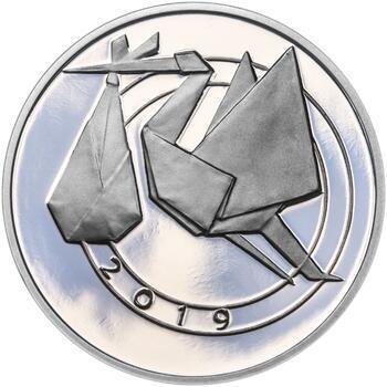 Stříbrný medailon k narození dítěte - origami 2019 - 28 mm, Stříbrný medailon k narození dítěte - origami 2019 - 28 mm - 1