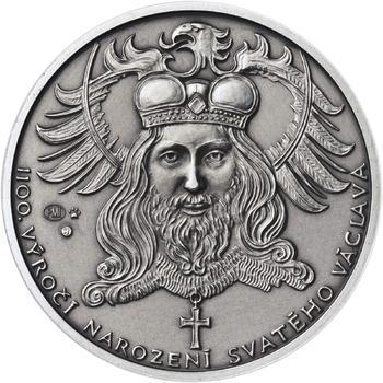 1100. výročí narození sv. Václava - stříbro 1 Oz patina - 1