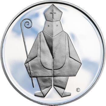 Čert a Mikuláš českého kubisty 25 mm stříbro Proof - 1