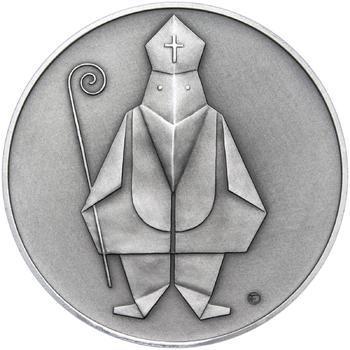 Čert a Mikuláš českého kubisty 25 mm stříbro patina - 1