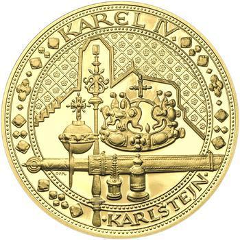 Nejkrásnější medailon IV. - Karlštejn 2 Oz zlato Proof - 1